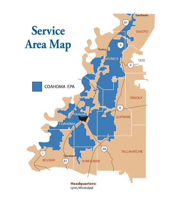 Coahoma EPA service area map